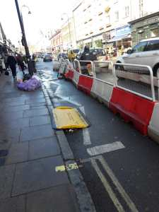 The Kentish Town Road widened pavement