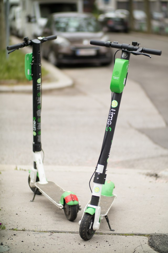 Two Lime scooters