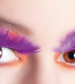 faux-cils plumes violettes