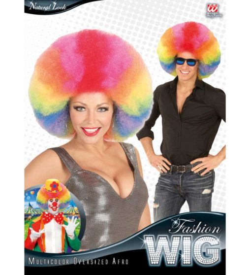 perruque afro multicolore