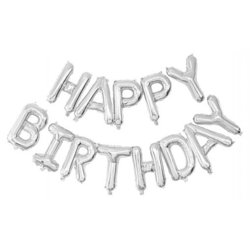 guirlande ballon happy birthday argent
