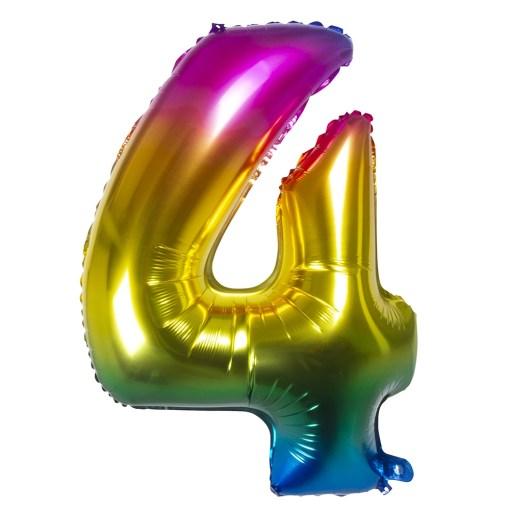 ballon chiffre 4 multicolore