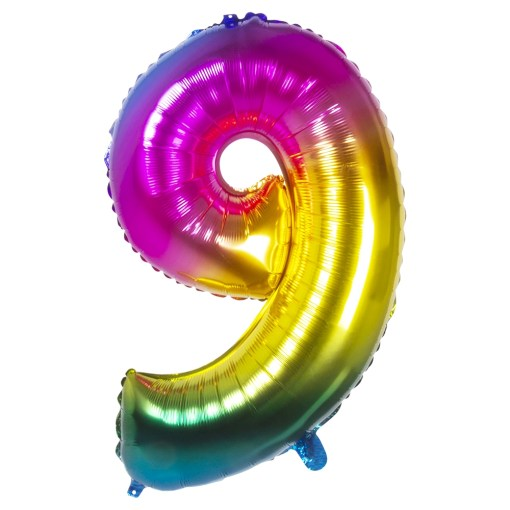 ballon chiffre 9 multicolore