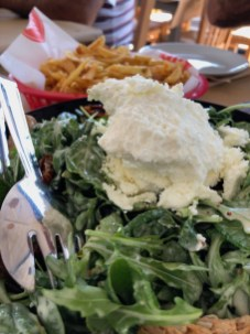 Fabulous Greek cheese salad with sun dried tomatoes and mustard vinaigrette dressing