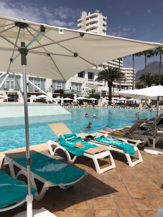 Plenty of sunbeds to be found around the two pools