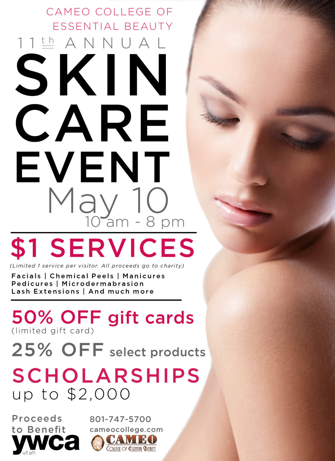 11th Annual Skin Care Event May 10 Cameo College Beauty
