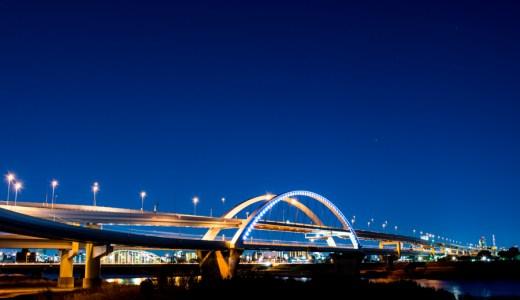 D7200 キレイな夜景 五色桜大橋とジャンクション撮影