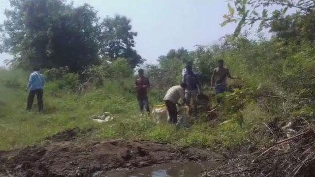 भयावाड़ी में किसान एकता संघ ने किया बोरी बंधान कार्य