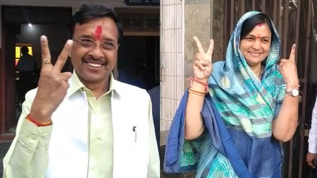 गंजबासौदा में प्रत्याशी निशंक जैन और लीना जैन ने किया मतदान