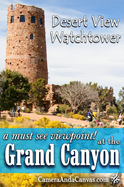 Desert View Watchtower at the Grand Canyon was built to look like an authentic Native American tower. There are amazing views of the Grand Canyon all around at this viewpoint which is on Desert View Drive at the Eastern end of the canyon.