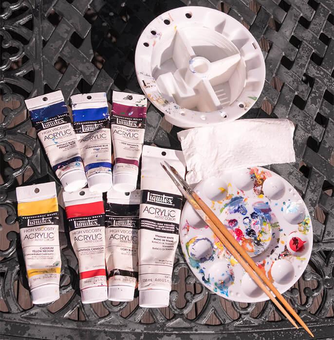 acrylic paints, brushes