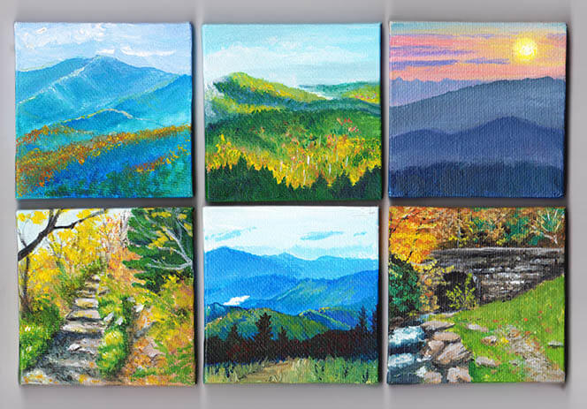 Scenes from the Smokies - Acrylic Paintings on mini canvases