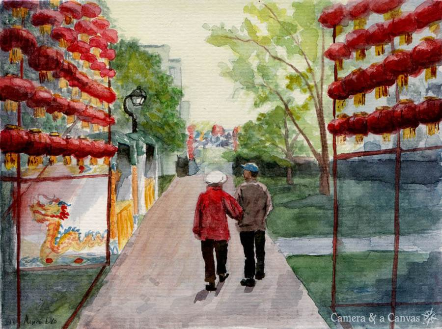 Chinese lantern watercolor painting