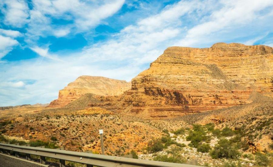 Golden rocky cliffs in Arizona