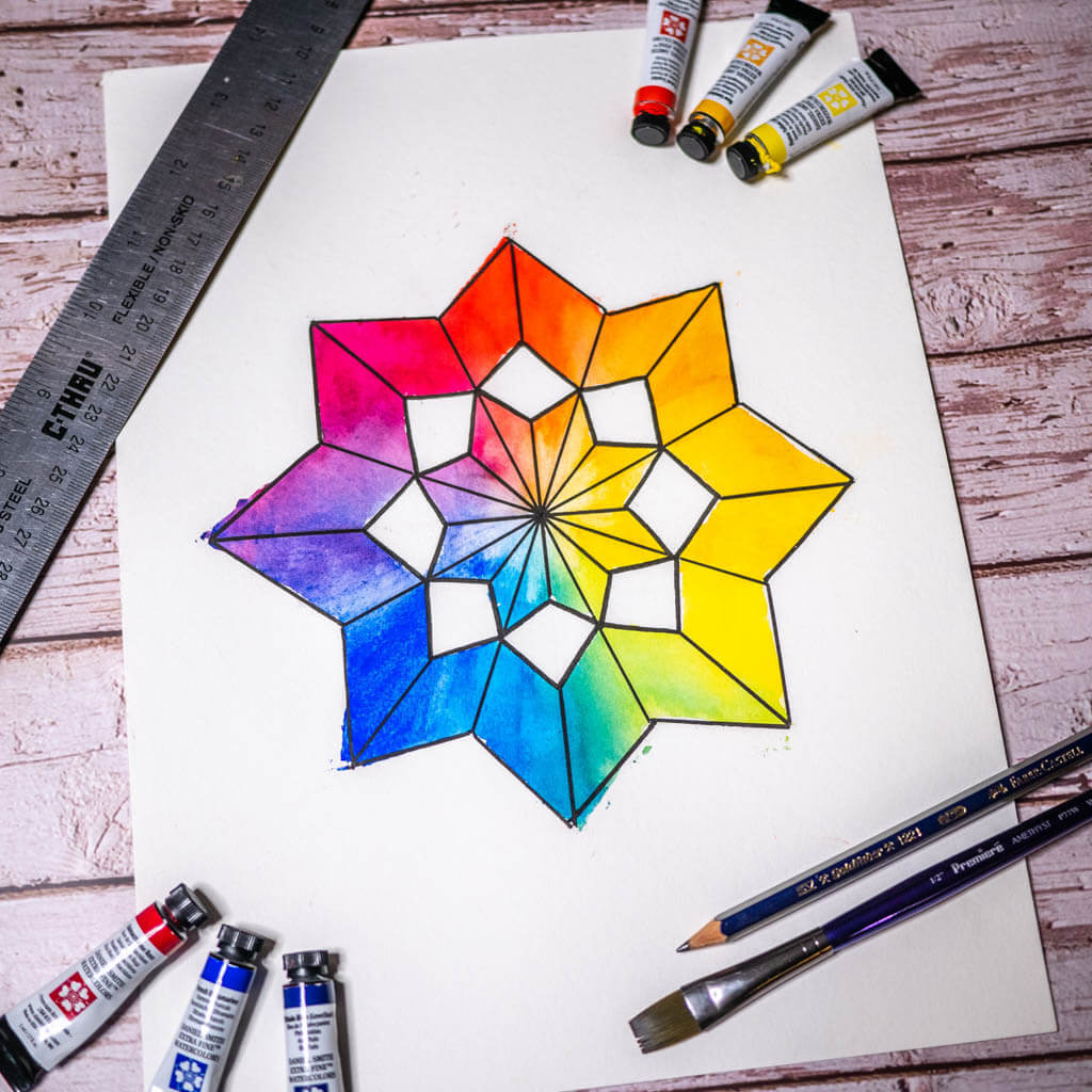 Creative Color wheel star made with watercolors