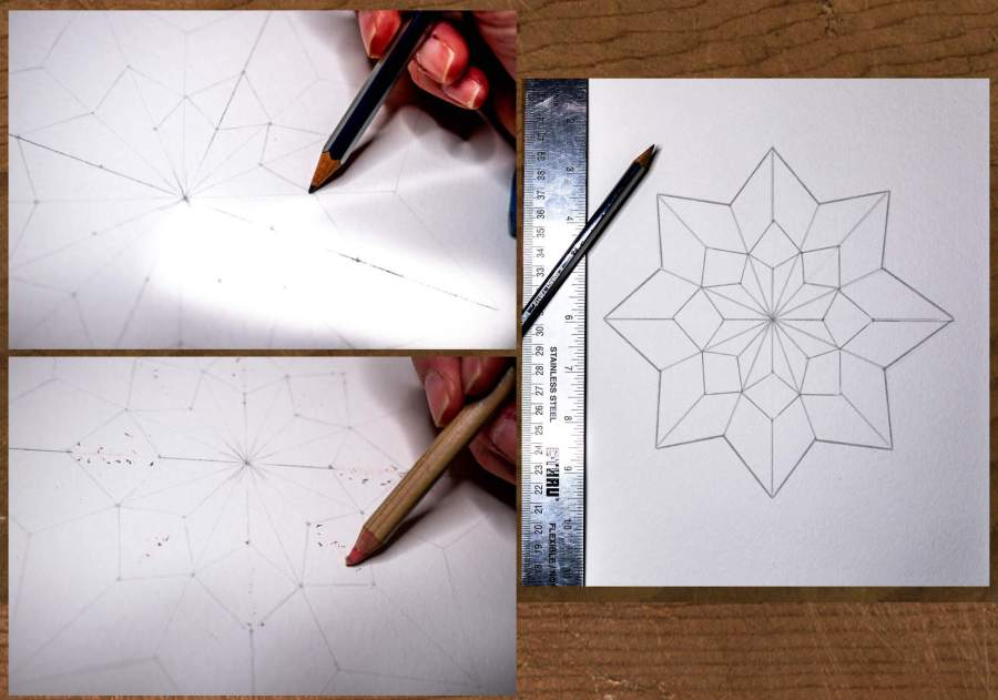 Final star shape drawing for your creative color wheel.