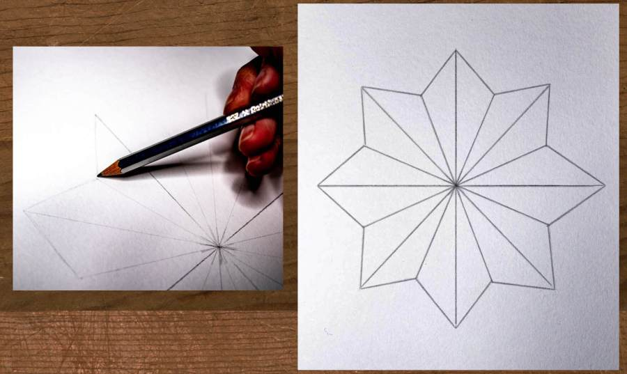 large star shape with lines