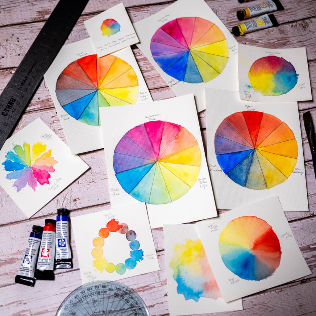 Watercolor color wheels