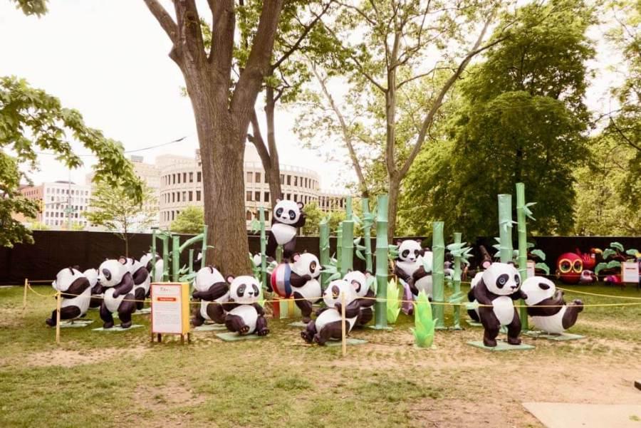Chinese Lantern Festival 2017, Franklin Square, Philadelphia. Panda display.