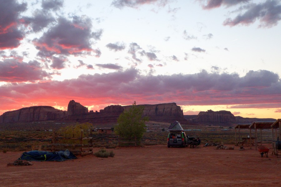 sunset in the campground