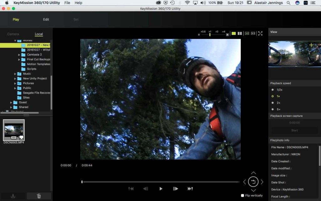 Nikon KeyMission 360/170 Utility - Select clip
