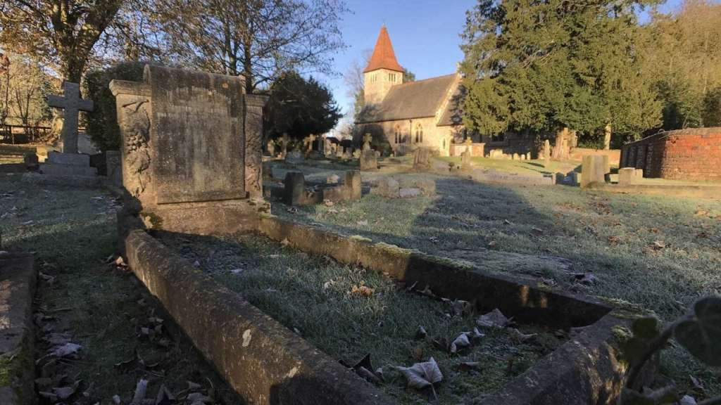 A churchyard covered in frost