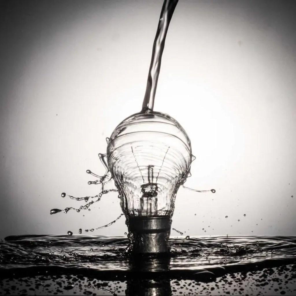 water splash on a light bulb