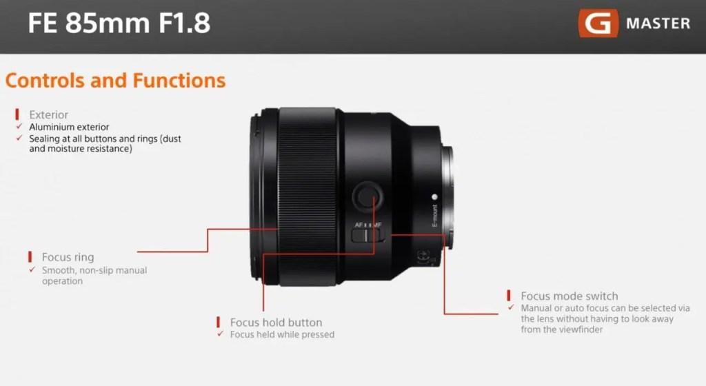 Sony 85mm Controls slide