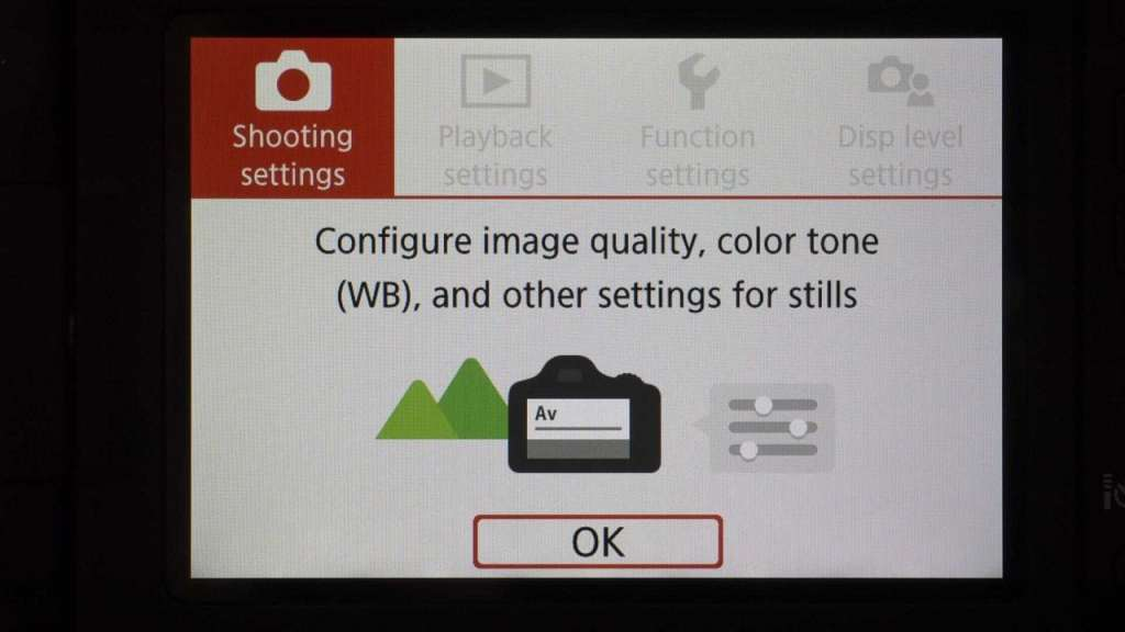 Canon 800D Main Menu Guided mode first screen