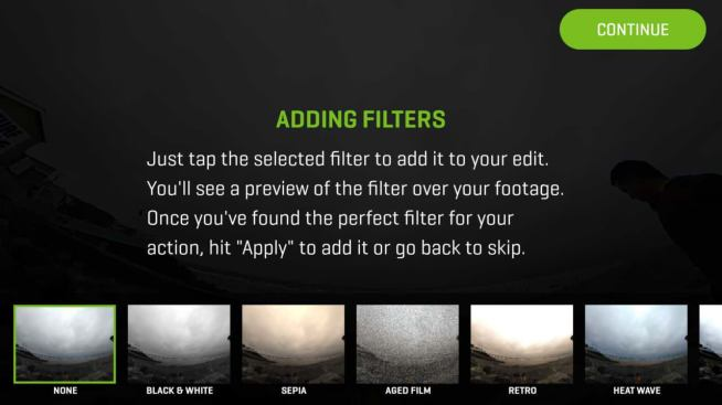 360Fly 4K Review: App filters