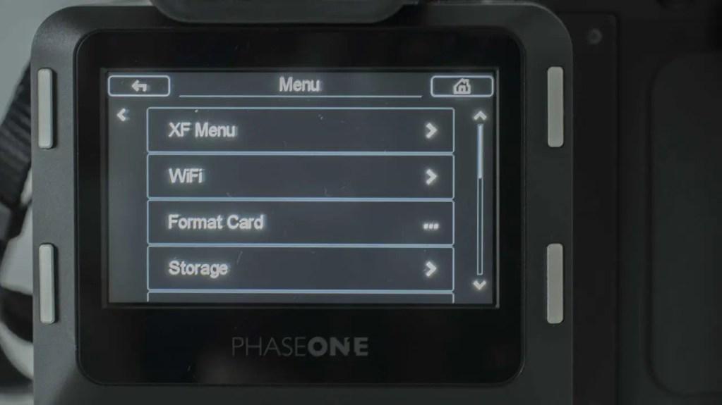 Phase One XF IQ3 Achromatic Review: Main Menu