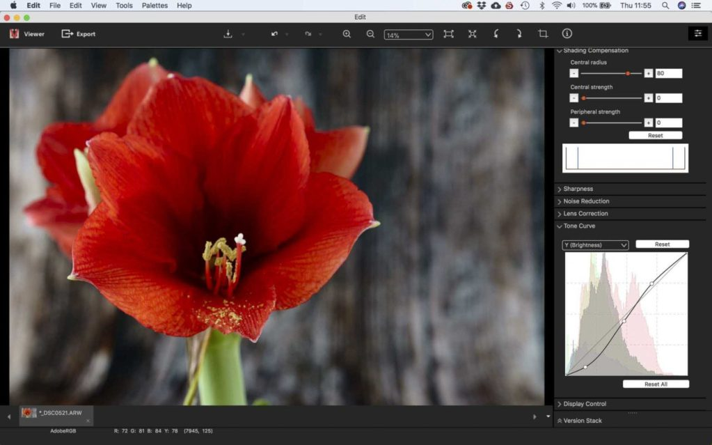 Sony Imaging Edge: Adjusting an image