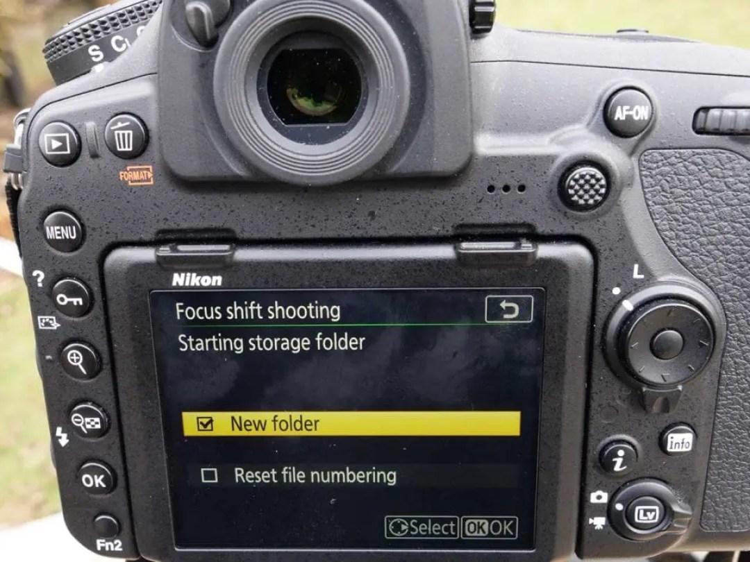 Nikon 850 Focus Shift: 02 Set a new storage folder