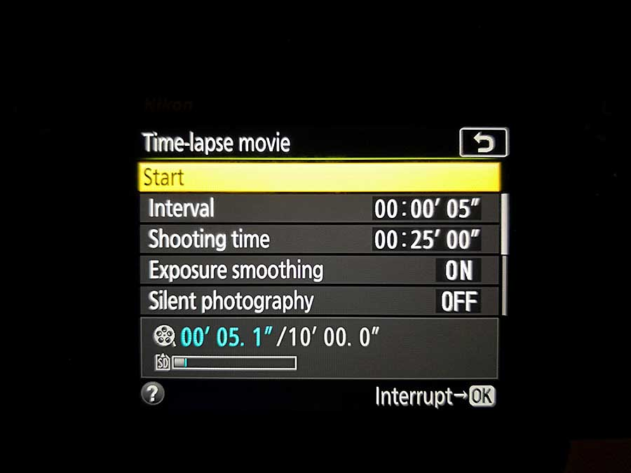 How to set up the Nikon D850 Timelapse Movie mode: interval time
