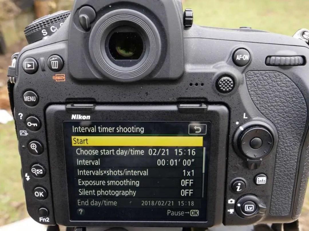 Nikon D850 timelapse tutorial: start button