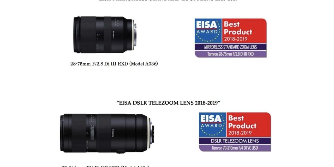Tamron lenses awarded two 2018 EISA Awards