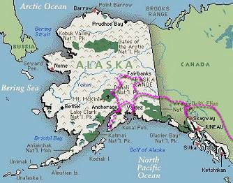 Map of Alaska. Stars indicate where we've been.