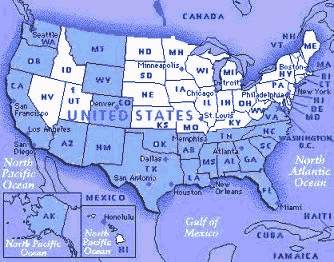 States marked in blue indicate places we've exlored in our trailer. across North America