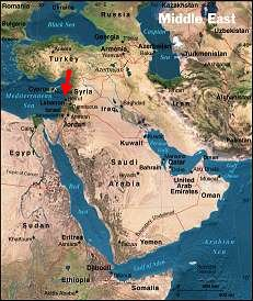Graphic map of where Israel is in the middle east.