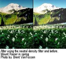 Mt. Rainier after and before using a neutral density filter. 