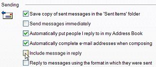 Outlook Express do not include message in reply screen