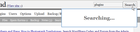 Codex search plugin searches for the words with the word Searching