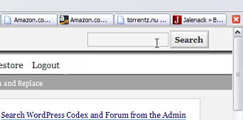 Codex search plugin search bar in the WordPress administration panels