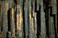Basalt columns in the mountains, photograph by Brent VanFossen