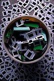 Trash can of slides. Photo by Brent VanFossen