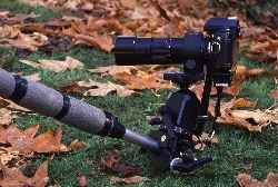 Super clamp used on a tripod leg to hold the camera close to the ground.