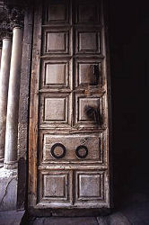 Door to the Church of the Holy Sepulchre, Jerusalem, Israel, photograph by Lorelle VanFossen