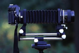 Bellows fit between the camera and the lens allowing for ultra closeup photography. Photo by Brent VanFossen