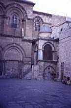 The entrance to the Church of the Holy Sepulcher is modest compared to the ornate interior. Photo by Lorelle VanFossen