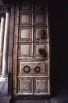 Door to the Church of the Holy Sepulcher, photo by Lorelle VanFossen
